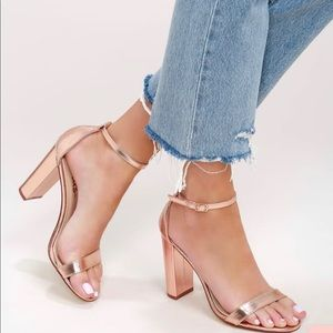 Madden Girl Strappy Rose Gold Block Heels
